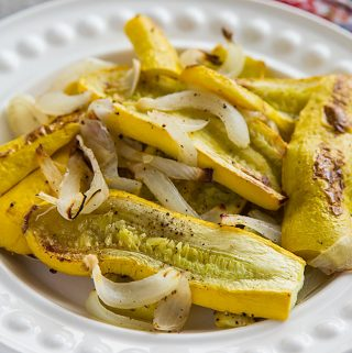 Ridiculously Easy Roasted Yellow Squash with Onions
