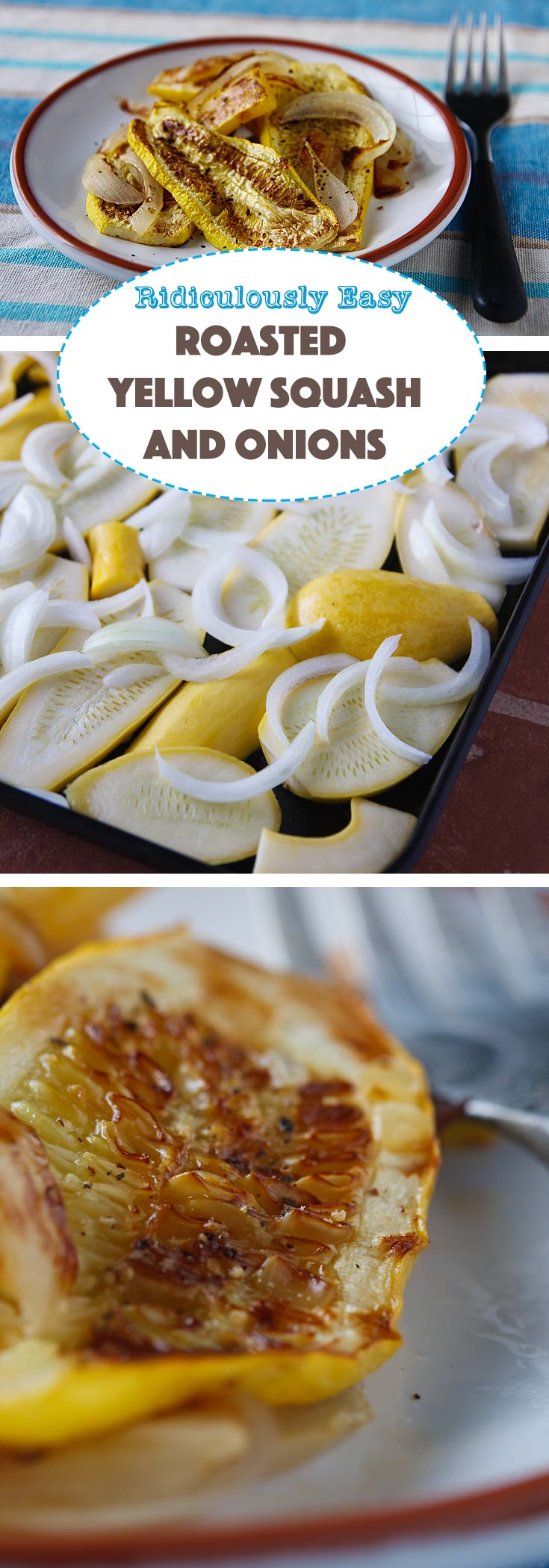 Roasting yellow squash with onions gives them a deep, rich, smoky flavor. It's hard to believe they're vegan and fat-free!