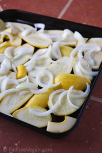 Yellow Squash and Onions Before Roasting