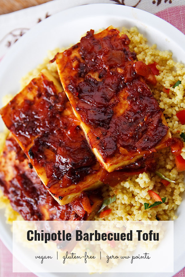 Tofu is baked in a homemade bbq sauce that can be sugar-free if you like. Sweet, tangy, smoky, and spicy as well as vegan and zero weight watchers points. #vegan #wfpb #zeropoints