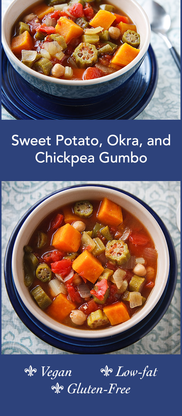 This delicious vegan gumbo has a hint of peanut butter for richness. Sweet potatoes and chickpeas make it hearty and filling.