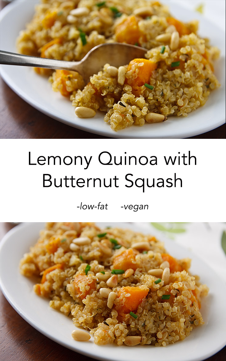 Lemony Quinoa with Butternut Squash, a delicious, low-fat, vegan side or main dish, perfect for holidays.