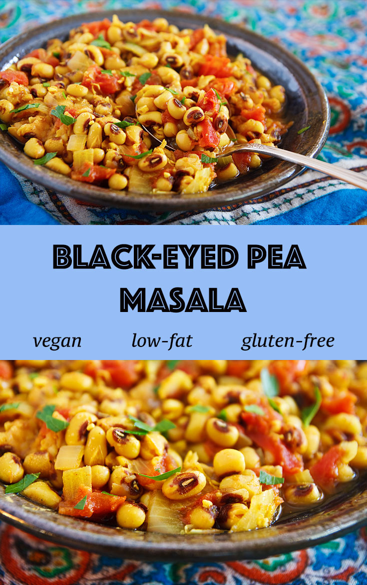 Cumin, cardamom, cinnamon, and other aromatic spices make this vegan Black-eyed Pea Masala flavorful and delicious. #vegan #wfpb #wfpbno #fok #veganuary #zeropoints