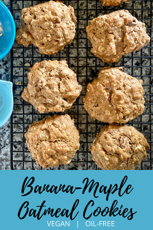 Banana-Maple Oatmeal Cookies: These delicious fat-free oatmeal cookies contain no white flour, only oatmeal and whole wheat. Sweetened with pure maple syrup, they contain no added oil.