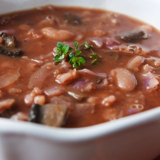 Mushroom-Barley Soup with Cannellini Beans and Cabbage