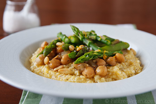 Polenta with Lemony Asparagus and Chickpeas | Recipe from FatFree ...