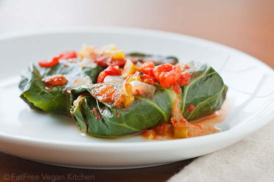Collards Stuffed with Red Beans and Rice. Vegan, Low-Fat, and Gluten-Free.