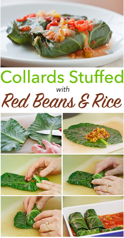 Collards Stuffed with Red Beans and Rice: Louisiana-spiced red beans and rice wrapped in collard leaves and baked with a simple tomato sauce. These stuffed collards are #vegan and gluten-free!