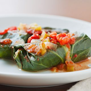 Collards Stuffed with Red Beans and Rice with fresh tomato sauce