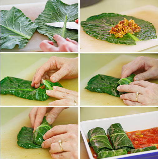 Rolling stuffed collards