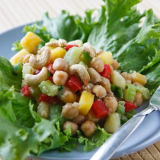 A delicious chickpea salad made with pineapple and coconut
