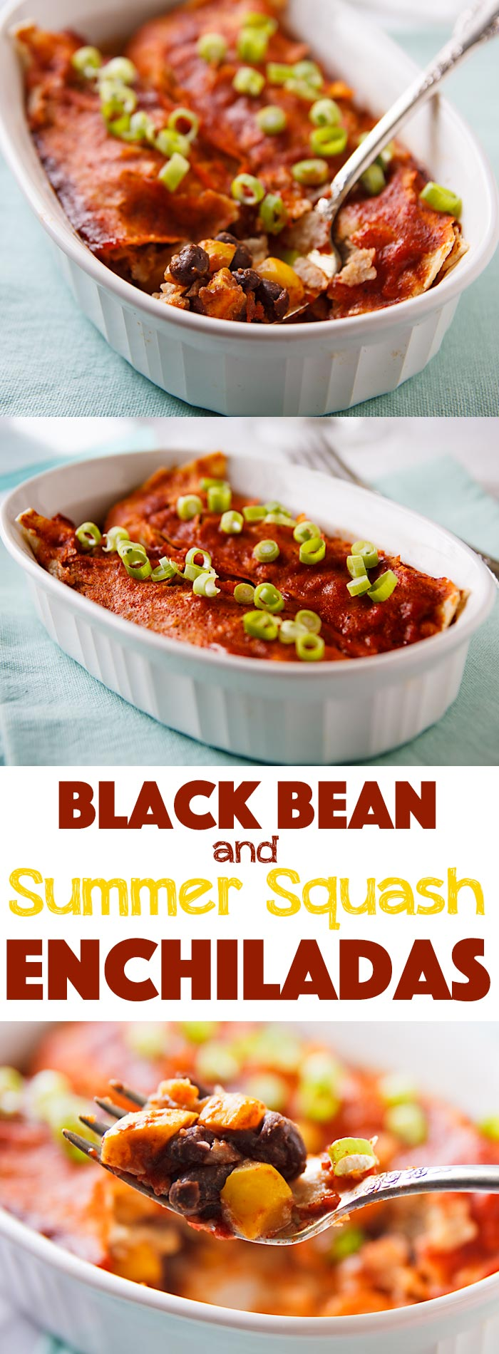 Black Bean and Summer Squash Enchiladas are the perfect light meal. Summer squash add heartiness without adding calories to these low-fat, vegan enchiladas.