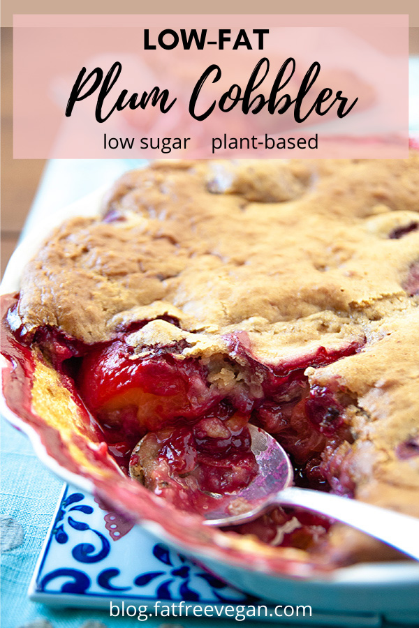 Low-Fat Plum Cobbler: The slight tartness of the plums is perfectly balanced by the sweetness of the cinnamon-kissed crust in this vegan, low-fat and low-sugar plum cobbler. #plantbased #wfpb