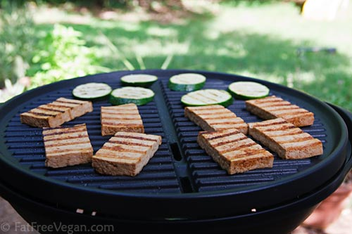 Chili-Grilled Tofu on the grill