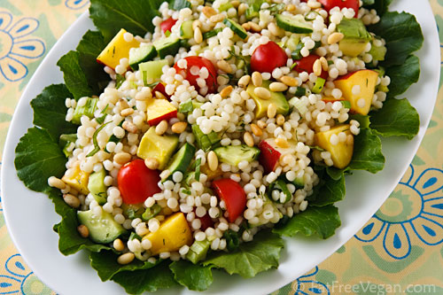 Israeli Couscous Summer Pilaf Fatfree Vegan Kitchen