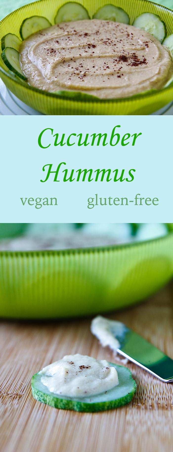 In this simple recipe, chopped cucumber takes the place of some of the liquid normally used to make hummus and makes the dip lighter and a little fluffier.