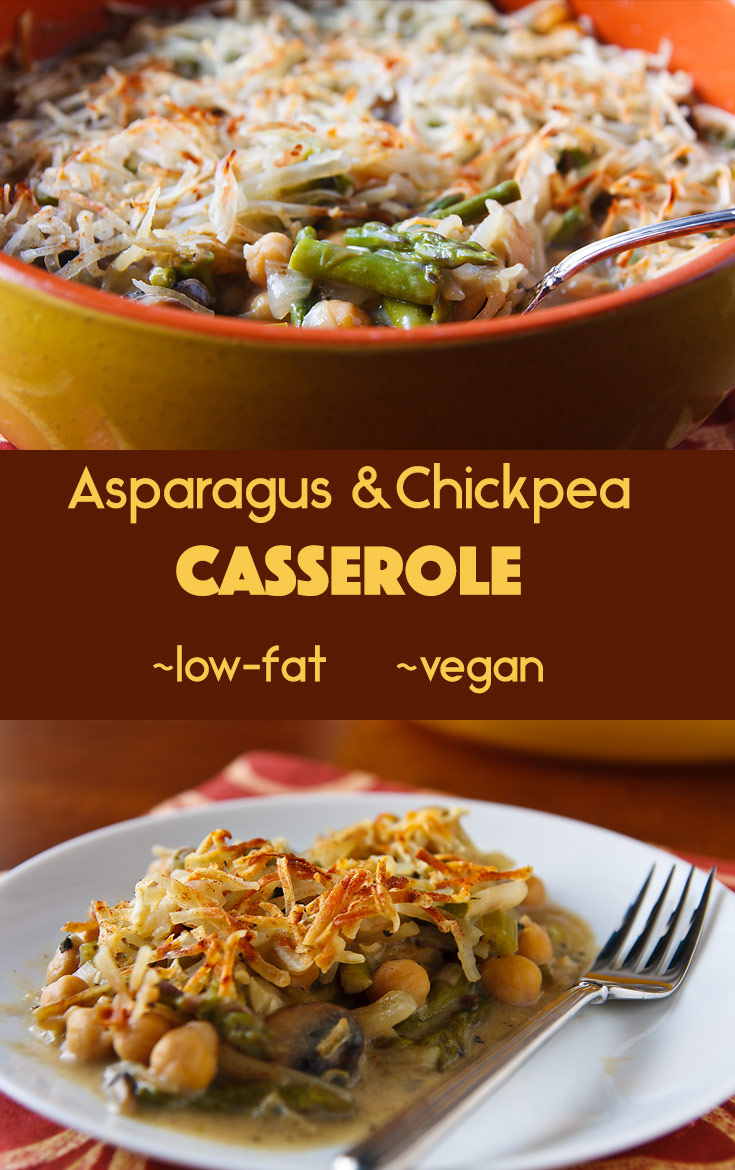 Asparagus & Chickpea Casserole: Asparagus, mushrooms, and chickpeas are baked in a creamy sauce and topped with crunchy shredded potatoes in this low-fat vegan casserole.