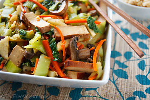 Bok Choy and Tofu Stir-Fry with Ginger-Citrus Sauce