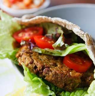 Curried Eggplant, Lentil, and Quinoa Burgers with Onion-Pepper Relish