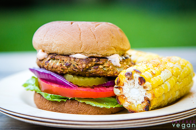 Curried Eggplant and Lentil Burger made with oats