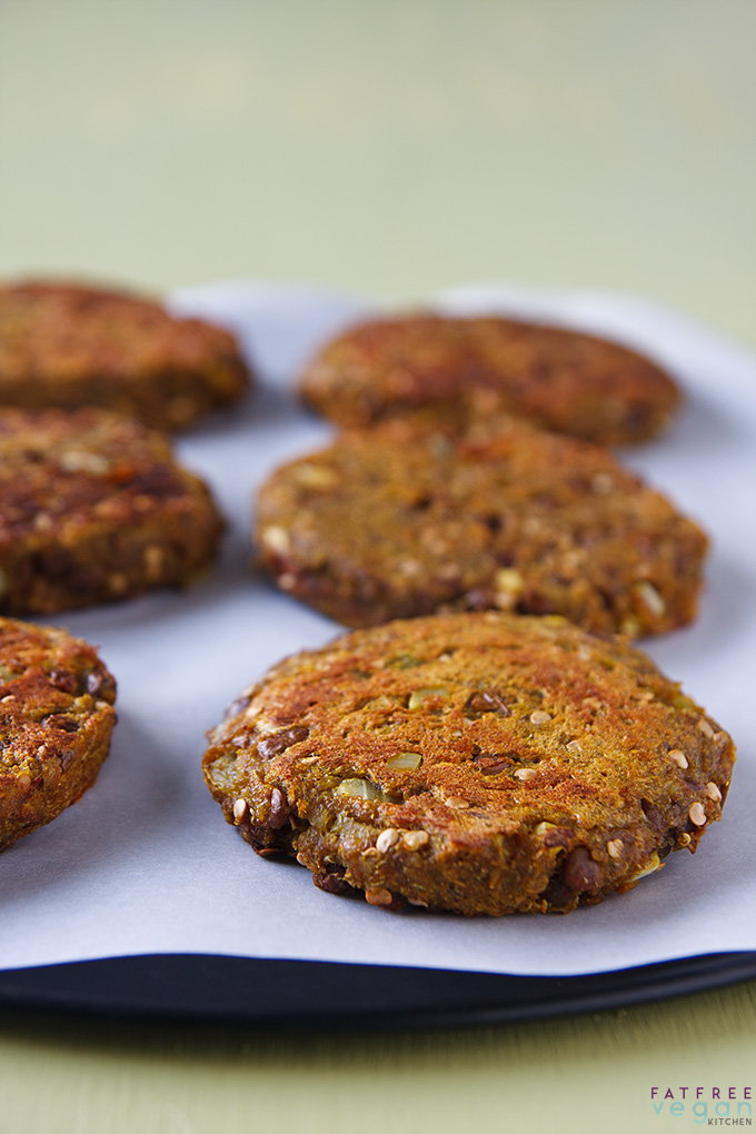Eggplant, Lentil, and Quinoa Burgers on a plate