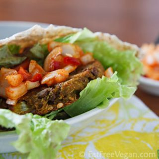 Curried Eggplant and Lentil Burgers with Onion-Pepper Relish