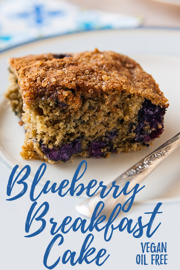 Blueberry Breakfast Cake: Lightly sweet and subtly spiced, this vegan, low-fat blueberry coffee cake can be made with fresh or frozen blueberries for a treat you can make year-round. #vegan #oilfree #wfpb