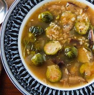 Brussels Sprouts and Shiitake Mushroom Soup