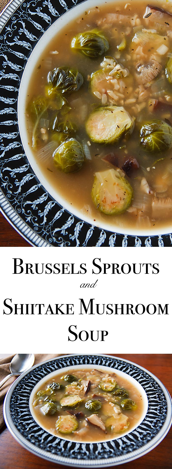 Shiitake mushrooms create a wonderfully rich and flavorful broth for this vegan brussels sprouts soup, which is full of the taste and aroma of Thanksgiving. #vegan #wfpb #wfpbno #glutenfree