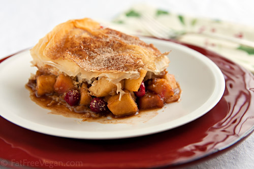 Apple-Cranberry Strudel Pie Recipe | recipe from FatFree Vegan Kitchen