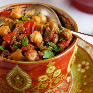 Eggplant and Chickpea Curry (Baingan Bharta with Chickpeas)