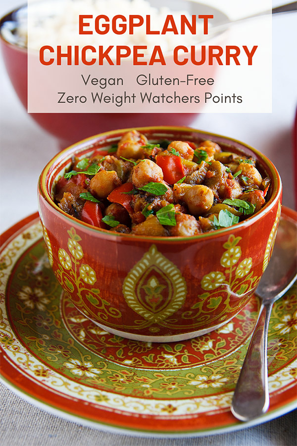 Eggplant meets chickpeas in this vegan, chickpea version of Baingan Bharta. Spicy, aromatic, and downright delicious! And it's a zero points food on Weight Watchers! #vegan #low-fat #gluten-free #wfpb #weightwatchers #zeropoints