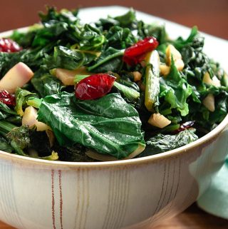 New Southern Greens (Vegan Greens with Ginger and Cranberries)