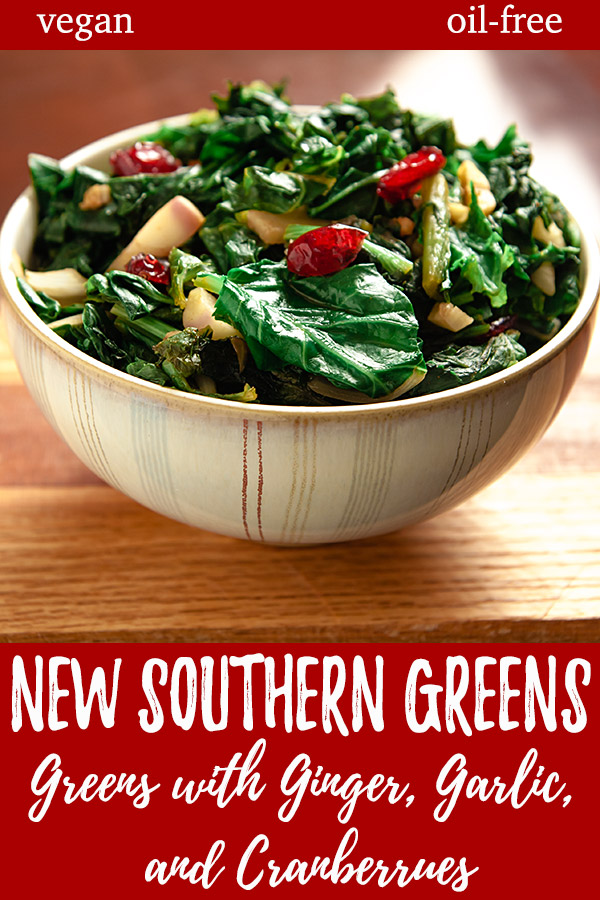 New Southern Greens: Tender, young mustard greens and turnip greens are quick-cooked in just a little broth with onions and tossed with ginger and dried cranberries. #vegan #oilfree