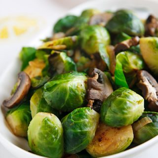 E's Super-Awesome Brussels Sprouts and Mushrooms