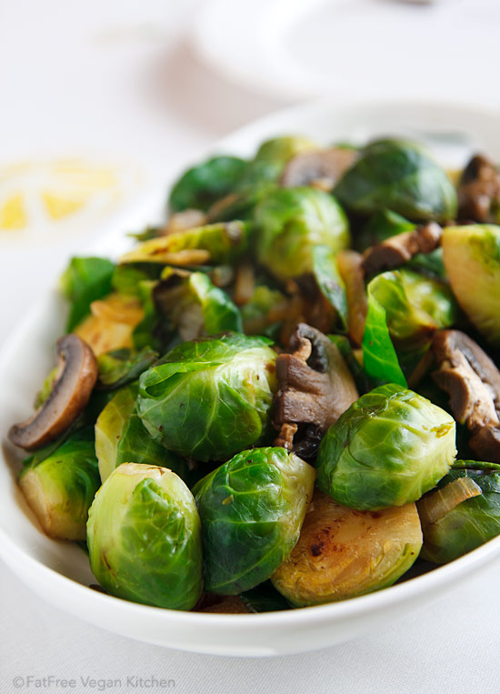 E S Super Awesome Brussels Sprouts And Mushrooms Fatfree Vegan Kitchen