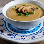 Roasted Parsnip and Garlic Soup with Mushrooms