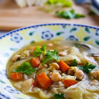 "Cabbage ""Noodle"" Soup: Cabbage takes the place of noodles in this light but filling vegan version of chicken soup."