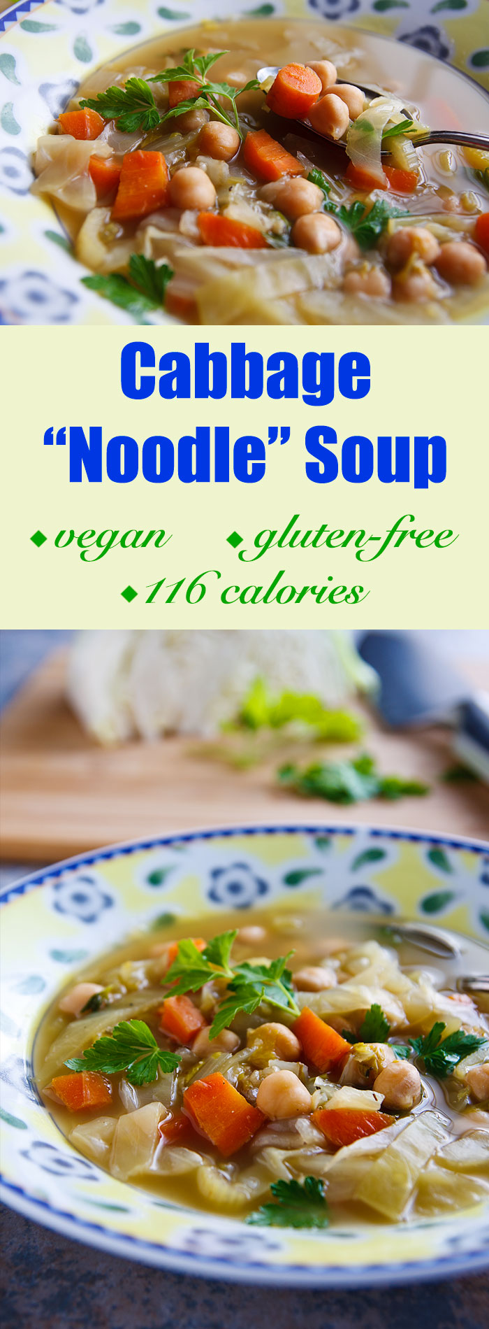 Strips of cabbage stand in for noodles and chickpeas for chicken in this low-fat, gluten-free vegan chicken noodle soup.