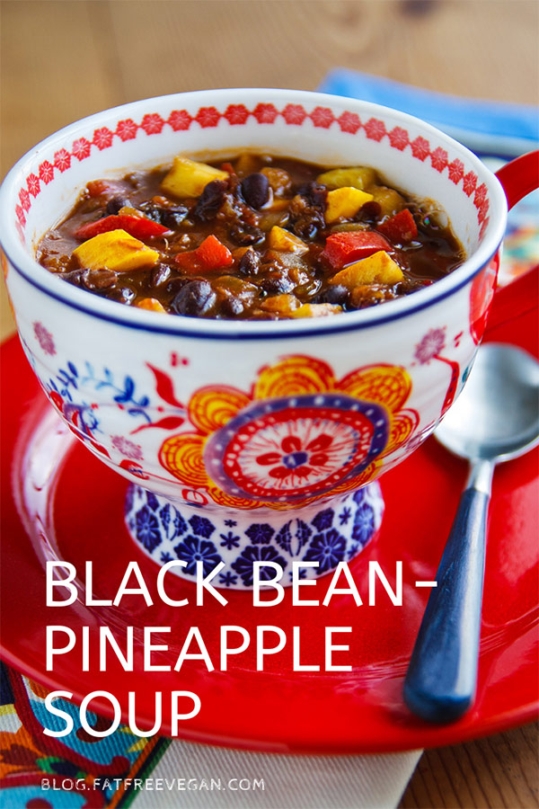 Black Bean-Pineapple Soup: Thicker than a soup, thinner than a chili, and probably most like a stew, this unique dish combines black beans and pineapple with delicious results. #vegan