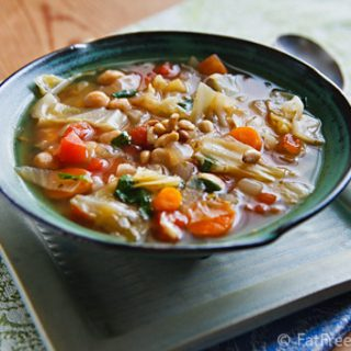 Simple Cabbage and Chickpea Soup with Fresh Basil