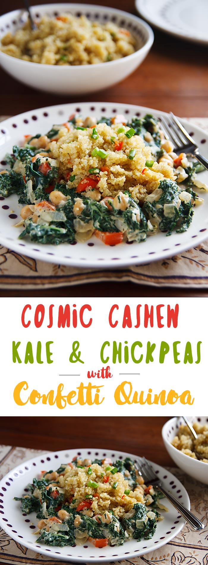 Creamy kale and chickpeas with cashew sauce goes perfectly with this easy, colorful quinoa. Vegan and gluten-free!