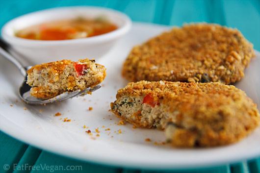 Green Curry Tofu Cakes--Vegan Thai Fish Cakes