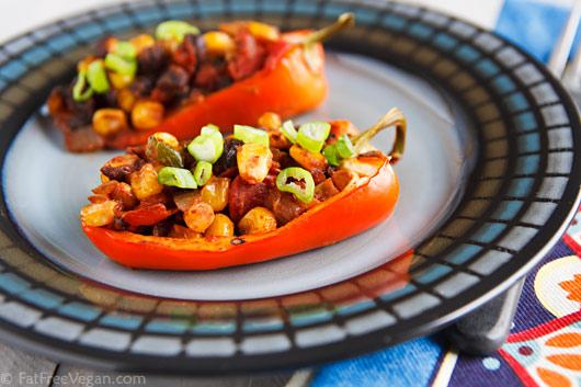Chili Stuffed Peppers Fatfree Vegan Kitchen