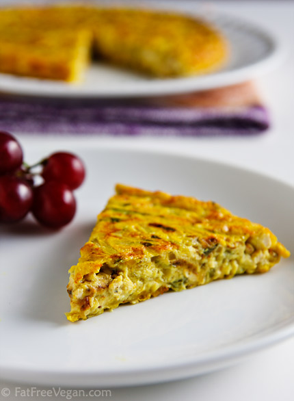 Vegan Zucchini Frittata: This flavorful vegan frittata combines the texture of scrambled tofu--a little bit browned and crumbly--with the cohesiveness of an omelet. Incredible!