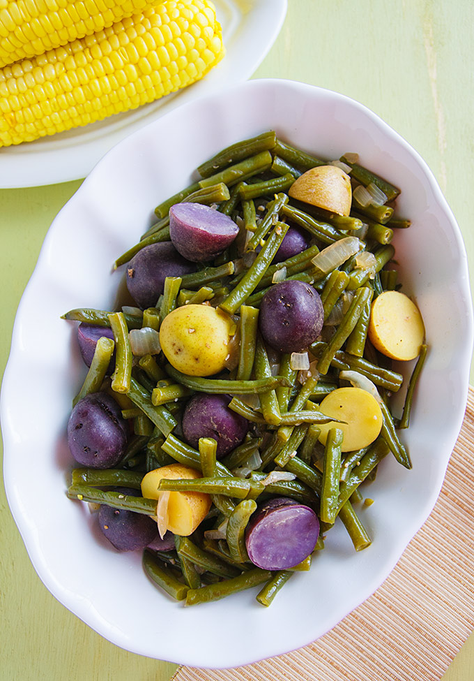 Homestyle Green Beans and Potatoes: Smoked salt adds a hint of Southern style to this easy, vegan green beans and potatoes side dish.