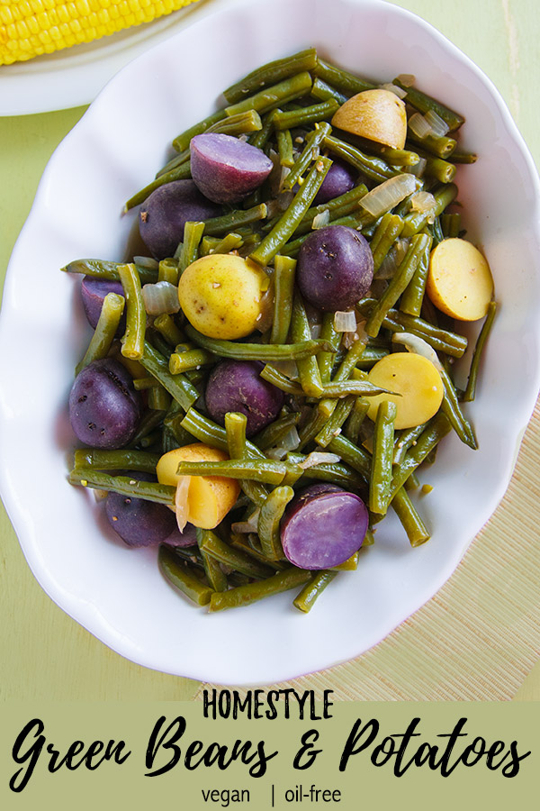 Homestyle Green Beans and Potatoes: Smoked salt adds a hint of Southern style to this easy, vegan green beans and potatoes side dish. You won't miss the ham! #vegan #wfpb