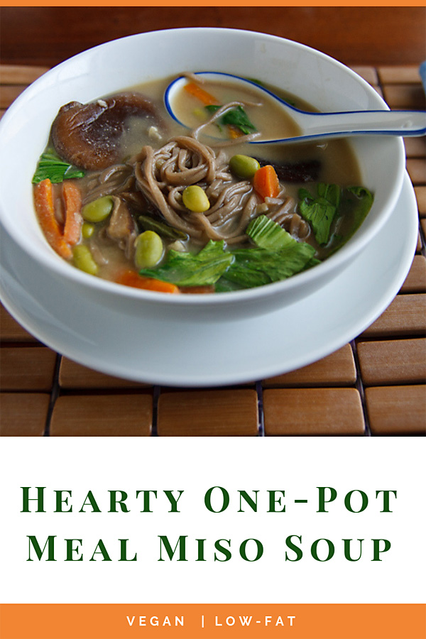 Hearty One-Pot Meal Miso Soup: This vegan one-pot meal contains rich miso broth, protein-rich edamame, flavorful and filling soba noodles, and fresh green and orange vegetables.