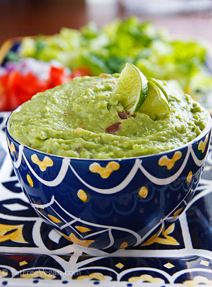 "Avocado, green beans, baby limas, and silken tofu combine to make a lower-fat guacamole that's just as delicious as ""regular."""