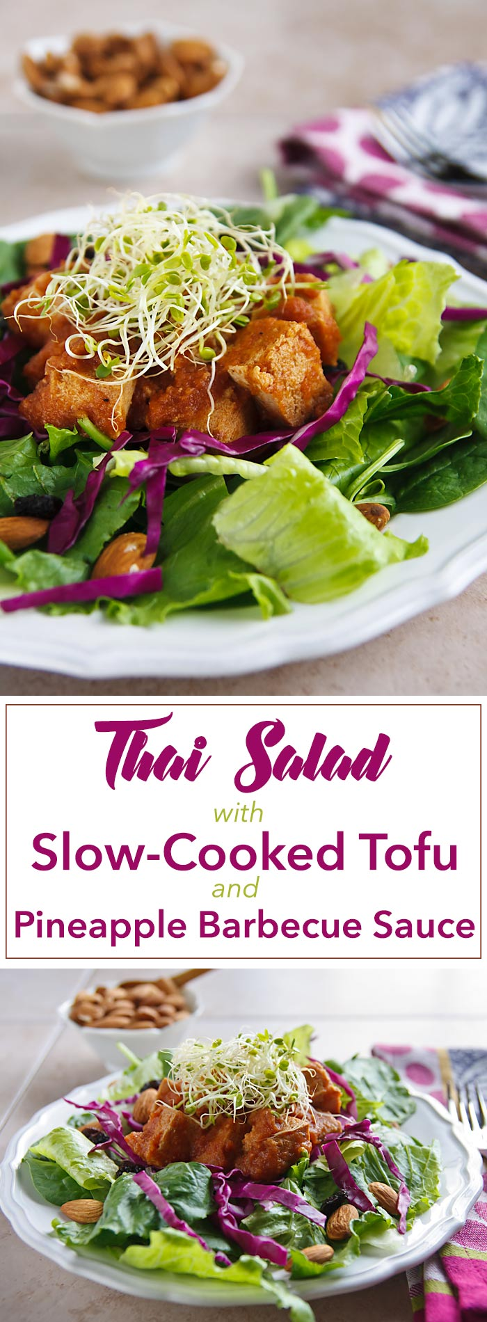 Pineapple-barbecued tofu is served over a Thai salad mix of spinach, romaine, and red cabbage lightly dressed with Low-Fat Tahini Dressing. Vegan and gluten-free.